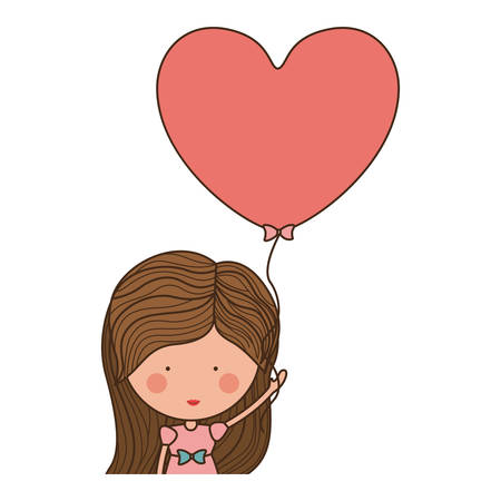 half body: half body woman with heart shaped balloons illustration Illustration