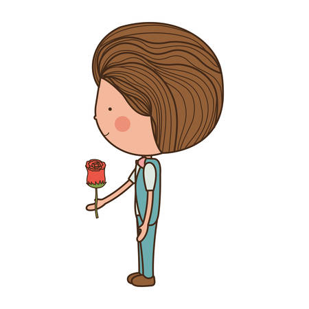 man with rose in hand illustration Illustration