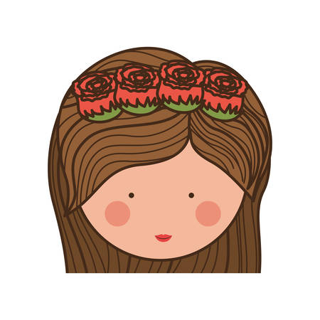 teeths: face woman and crown of roses in medium hair illustration