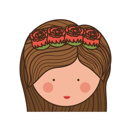 medium: face woman and crown of roses in medium hair illustration