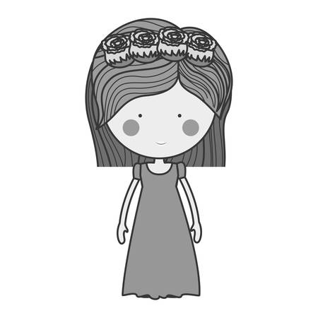 monochrome bride with crown of roses illustration