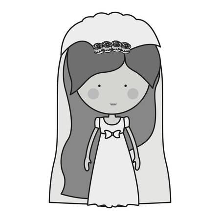 veil: monochrome bride with dress and veil illustration