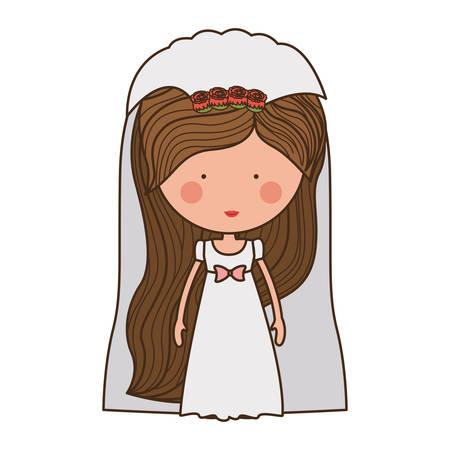 veil: bride with dress and veil illustration Illustration