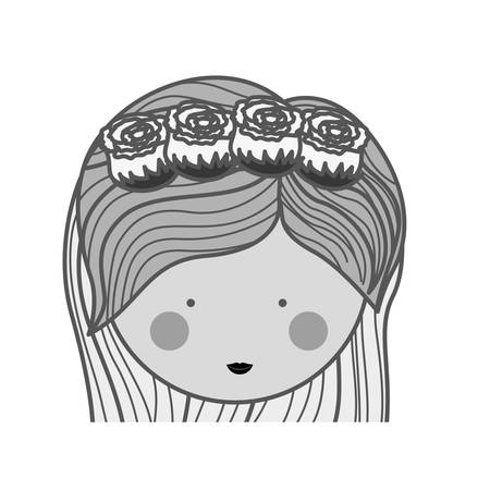 medium: silhouette face woman and crown of roses in medium striped hair illustration Illustration