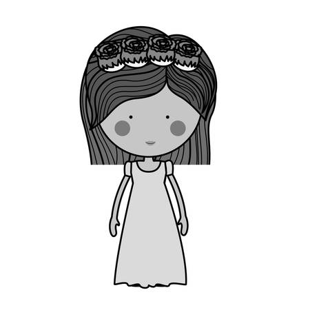bridesmaid: monochrome bride with dress and crown of roses illustration