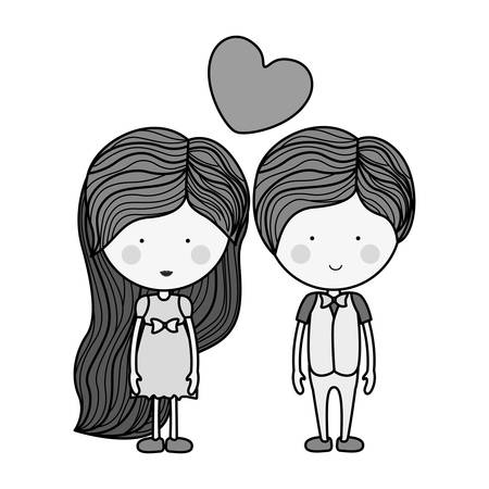 long hair boy: monochrome man and woman with heart floating illustration Illustration