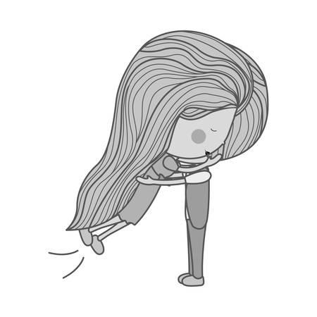 long hair boy: portrait monochrome girl jumps and hugs a guy illustration