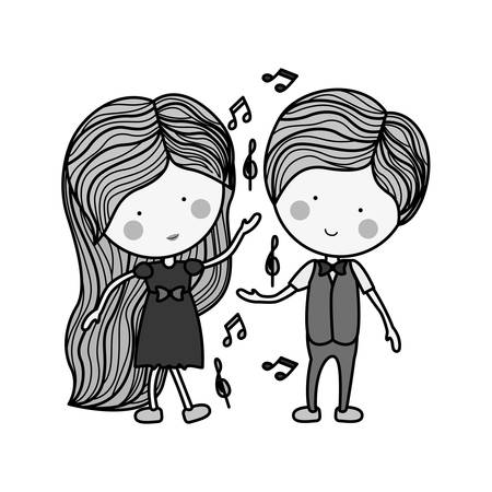 silhouette couple dancing with musical notes illustration