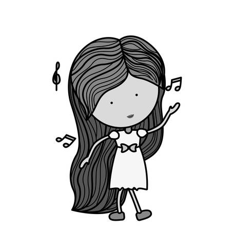 silhouette woman dancing with musical notes illustration