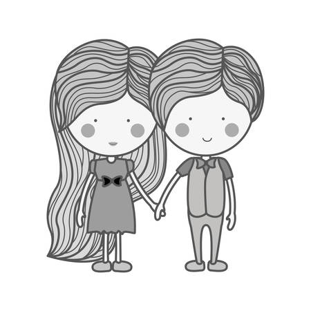 silhouette couple holding hands with clothes illustration