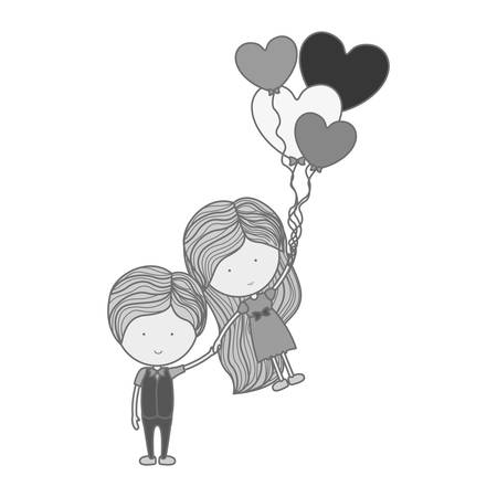 heartshaped: monochrome silhouette man holding girl floating with heart-shaped balloons illustration