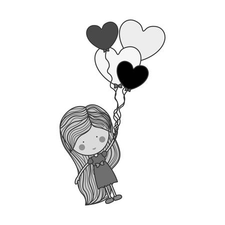 formal party: silhouette girl dragged by heart-shaped balloons illustration