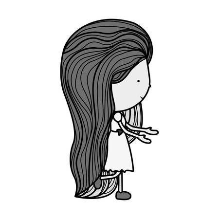 eyesclosed: silhouette girl walking with brown long hair illustration Illustration