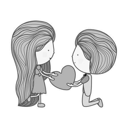 long hair boy: silhouette couple with heart in her hands illustration