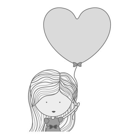 half body: silhouette half body woman with heart shaped balloons illustration