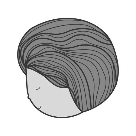 gray hair: monochrome face profile man with eyesclosed illustration
