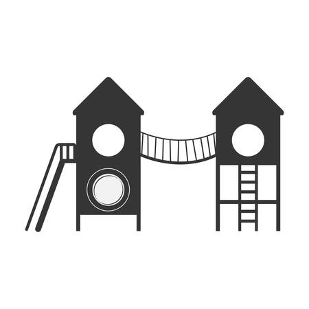play area with bridge and stairs illustration Ilustracja
