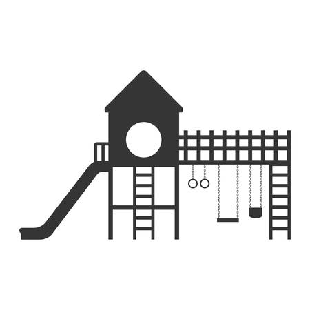 playground with a slide and swings vector illustration