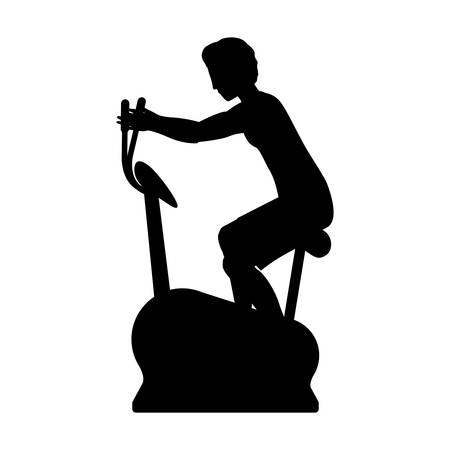 static bike: silhouette with man static bicycle vector illustration Illustration
