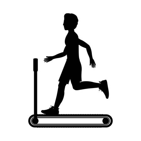 weight machine: silhouette with man in treadmill vector illustration Illustration