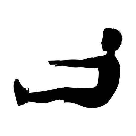 abs: silhouette with man exercise abs vector illustration