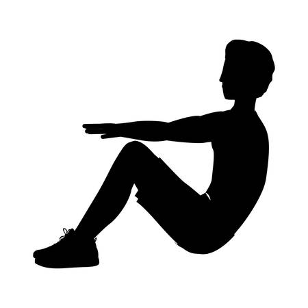 abs: silhouette man exercise abs collected legs vector illustration