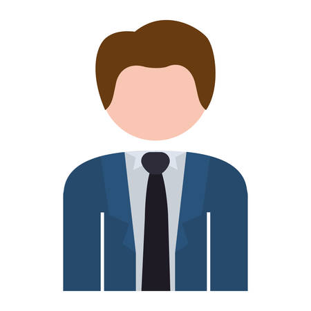 half body: half body man formal suit blue vector illustration Illustration