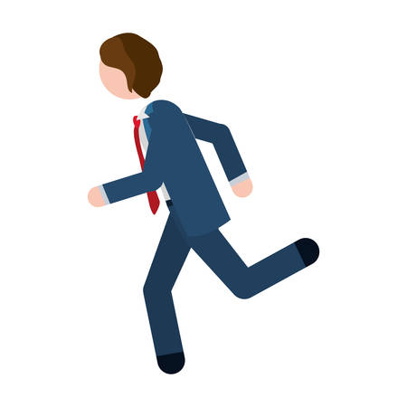 quickly: man formal suit blue with quickly vector illustration