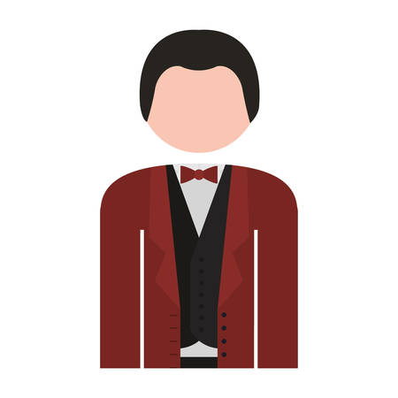half body: half body man formal suit bowtie vector illustration