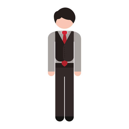 cuerpo completo: full body man formal suit tie vector illustration