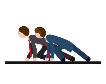 two men: two men formal suit race vector illustration