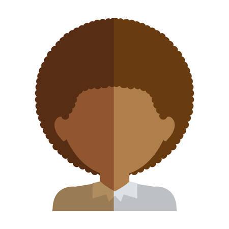 light brown hair: half body man half brunette and caucasian curly hair vector illustration Illustration