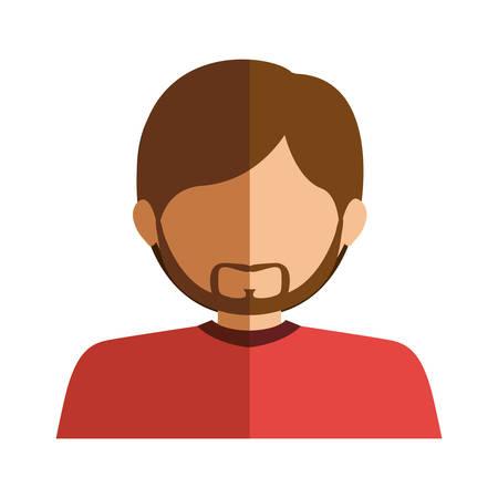 half body man half brunette and caucasian with beard vector illustration Illustration