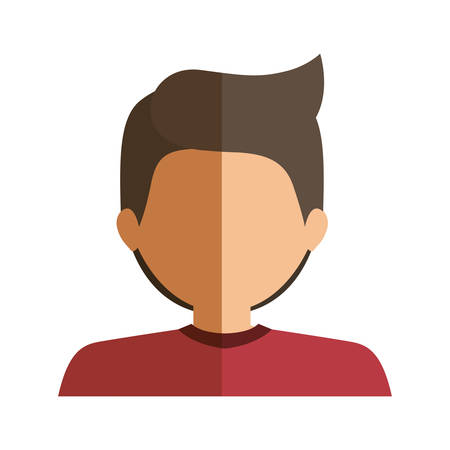 skin color: half body boy half brunette and caucasian vector illustration