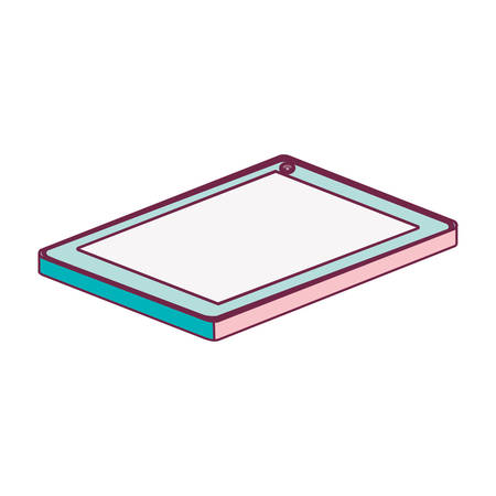 lying down: tech touch tablet camera front lying down minimalist vector illustration