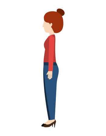 woman standing pants left profiles hairtied vector illustration Illustration