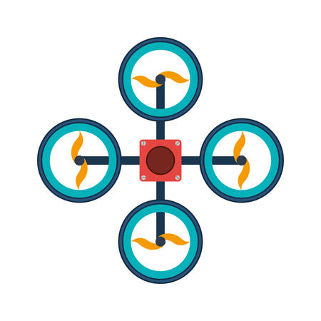 airscrew: drone with four airscrew colorful vector illustration