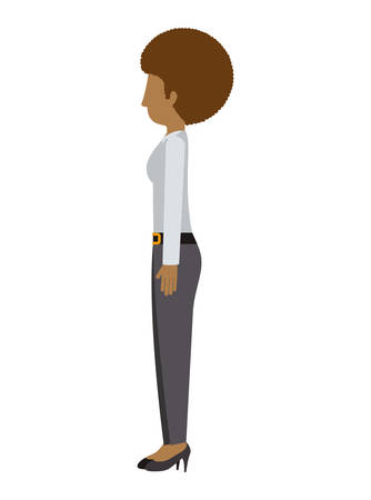 afro hair: woman standing pants left profiles afro hair vector illustration Illustration