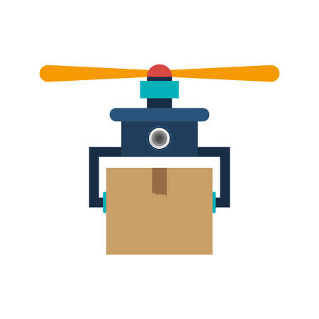 carrying box: drone carrying box with one airscrew vector illustration
