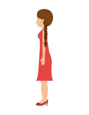 cola mujer: mujer que se colocan perfiles de vestir a la izquierda de la ilustración del vector de pelo de la cola