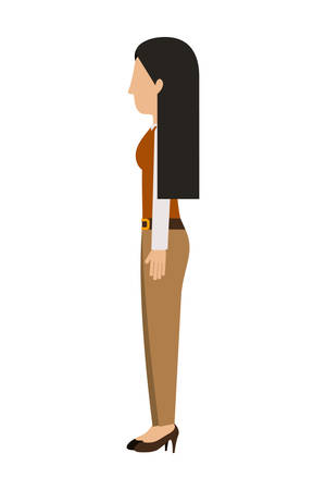 long pants: woman standing pants left profiles long hair vector illustration Illustration