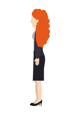 curly tail: woman standing suit dress left profiles curly redhair vector illustration