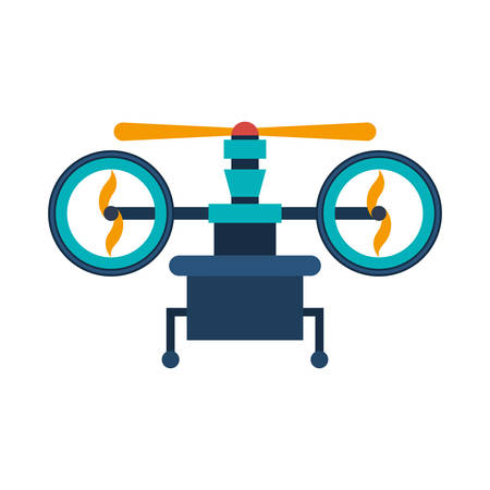 airscrew: drone with support and three airscrew vector illustration