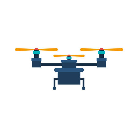 airscrew: drone with three airscrew and train of landing vector illustration
