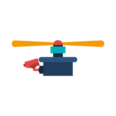airscrew: drone with camera and one airscrew vector illustration