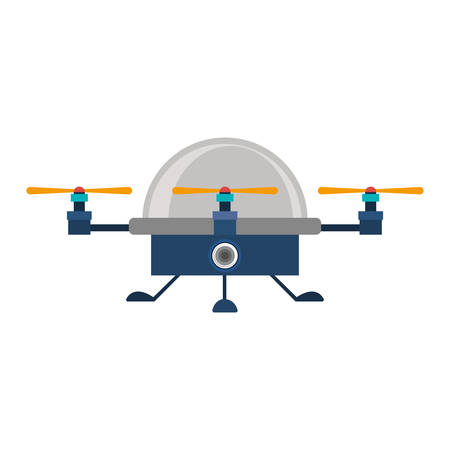 airscrew: drone advanced with cabin and three airscrew vector illustration
