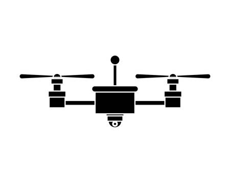 airscrew: silhouette drone with camera and two airscrew vector illustration