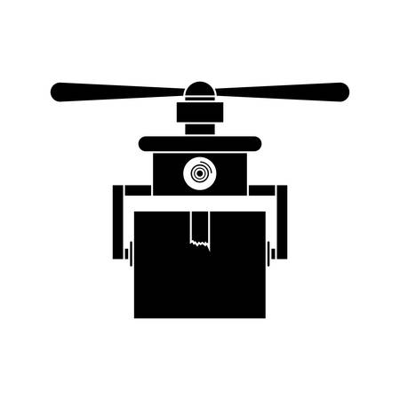 carrying box: silhouette drone carrying box with one airscrew vector illustration