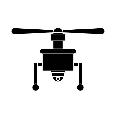 airscrew: silhouette drone with camera and one airscrew vector illustration Illustration