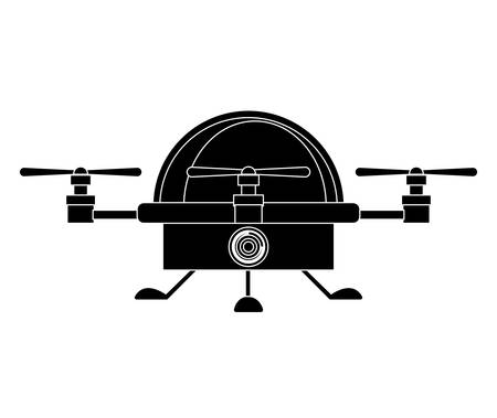 airscrew: silhouette drone advanced with cabin and three airscrew vector illustration Illustration